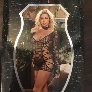 Fence net mini dress with g-string